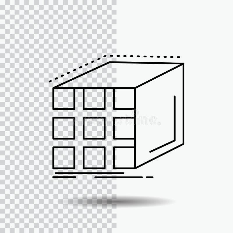 Estratto, aggregazione, cubo, dimensionale, linea icona della matrice su fondo trasparente Illustrazione nera di vettore dell'ico illustrazione di stock