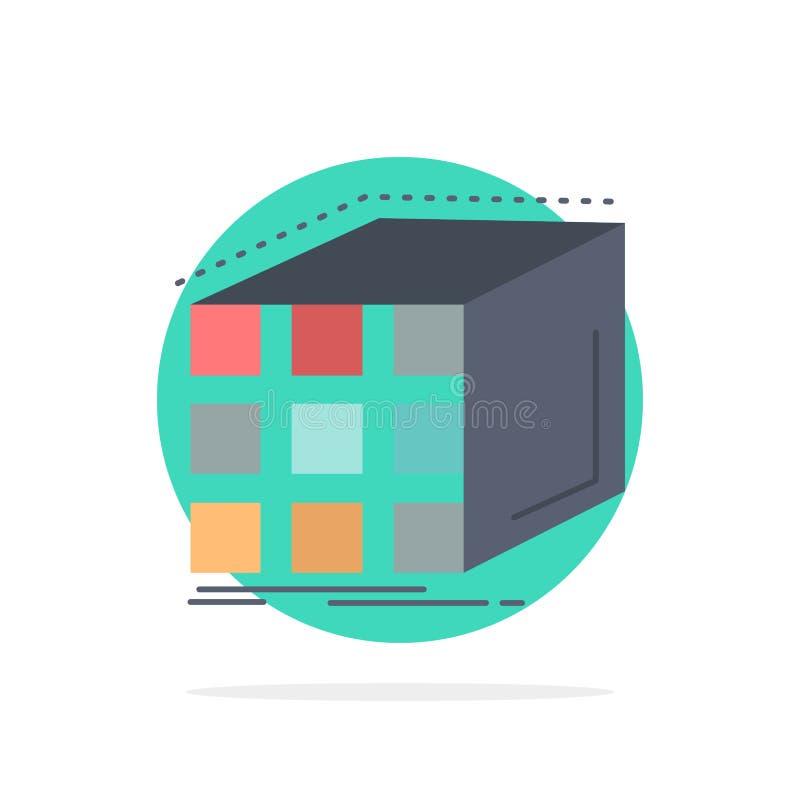 Estratto, aggregazione, cubo, dimensionale, vettore piano dell'icona di colore della matrice illustrazione vettoriale