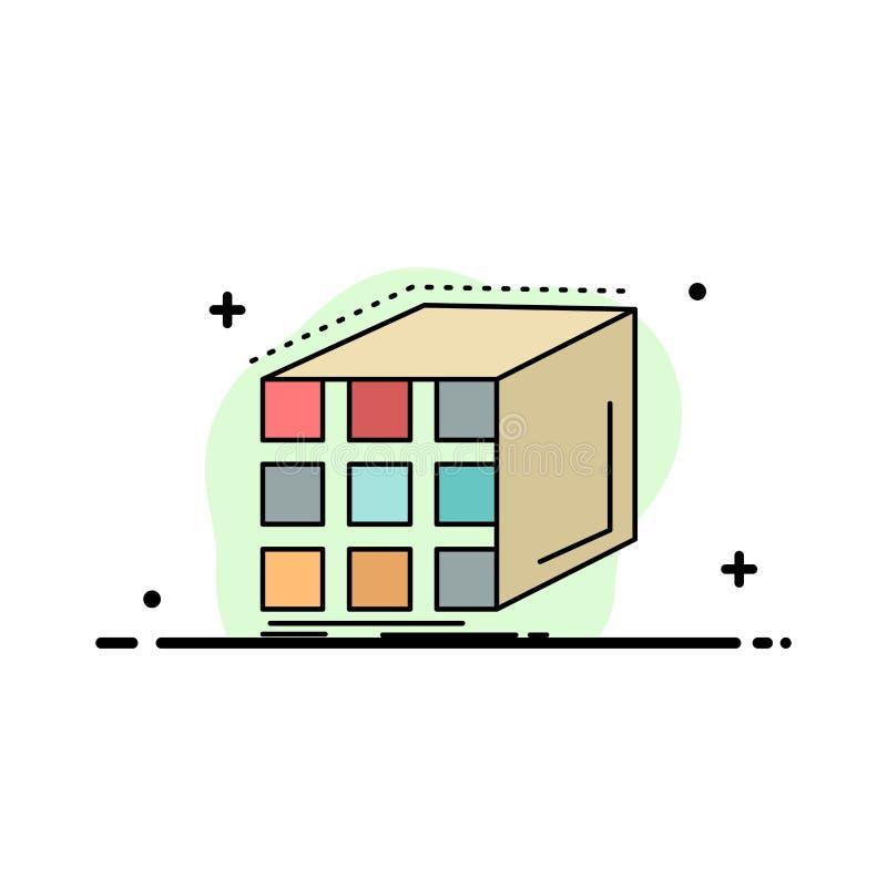 Estratto, aggregazione, cubo, dimensionale, vettore piano dell'icona di colore della matrice illustrazione di stock