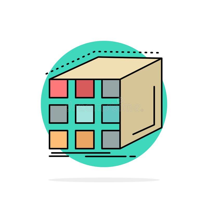 Estratto, aggregazione, cubo, dimensionale, vettore piano dell'icona di colore della matrice royalty illustrazione gratis
