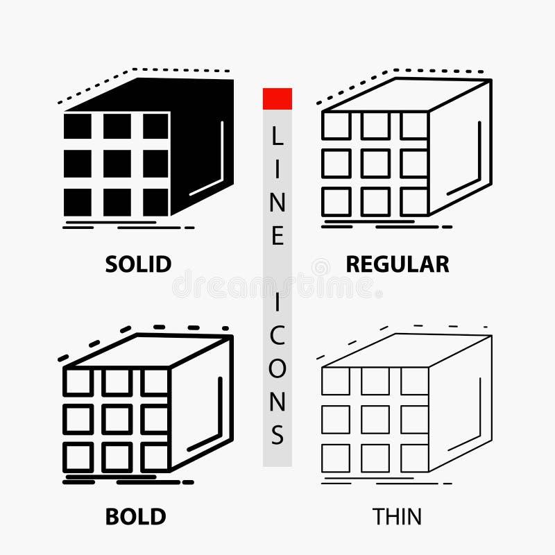 Estratto, aggregazione, cubo, icona della matrice e dimensionale nella linea e nello stile sottili, regolari, audaci di glifo Ill royalty illustrazione gratis