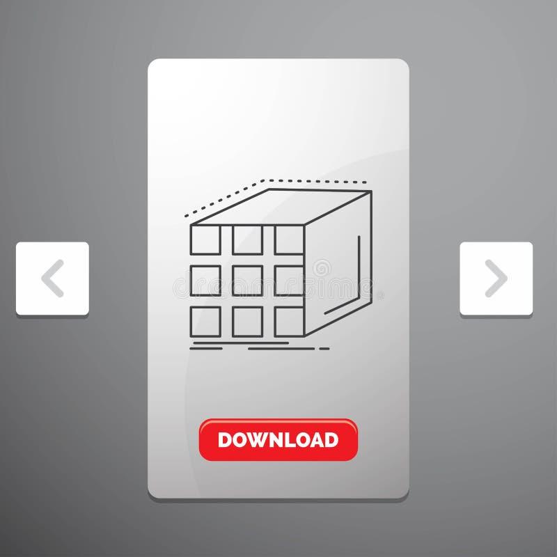Estratto, aggregazione, cubo, linea icona della matrice e dimensionale nella progettazione del cursore di impaginazioni di Carous royalty illustrazione gratis