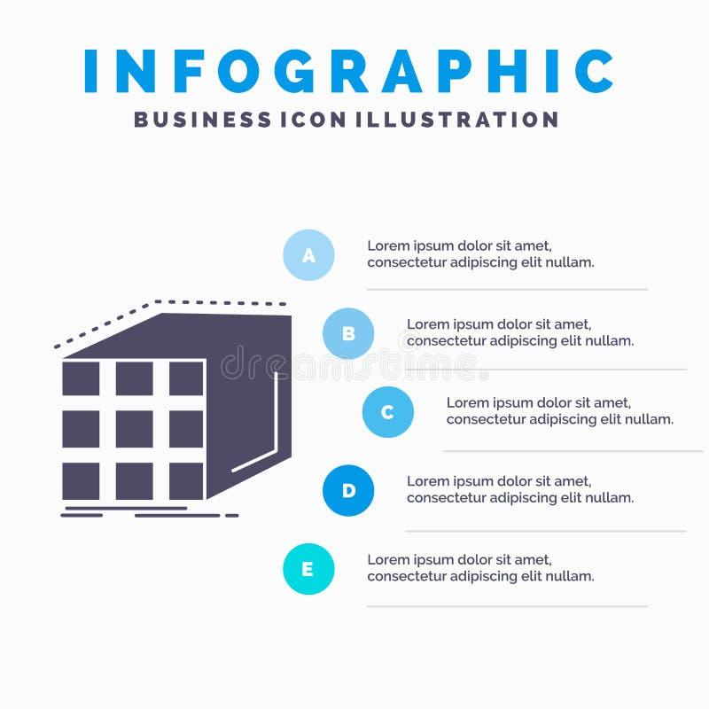 Estratto, aggregazione, cubo, modello della matrice e dimensionale di Infographics per il sito Web e presentazione Icona grigia d royalty illustrazione gratis