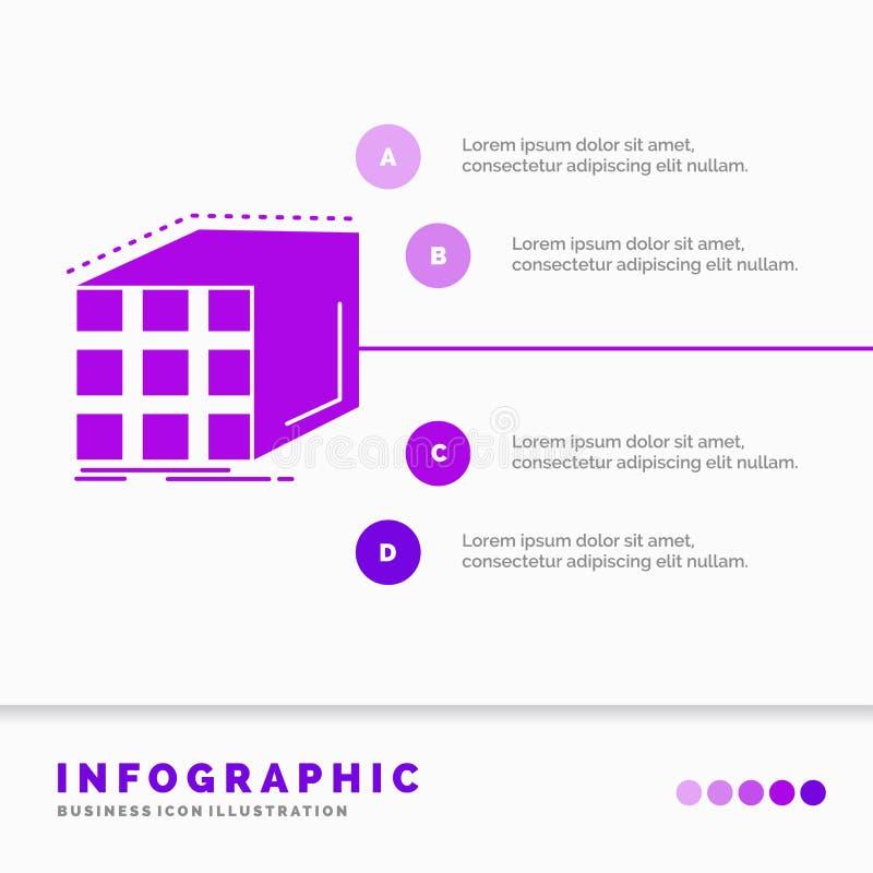 Estratto, aggregazione, cubo, modello della matrice e dimensionale di Infographics per il sito Web e presentazione Icona porpora  royalty illustrazione gratis