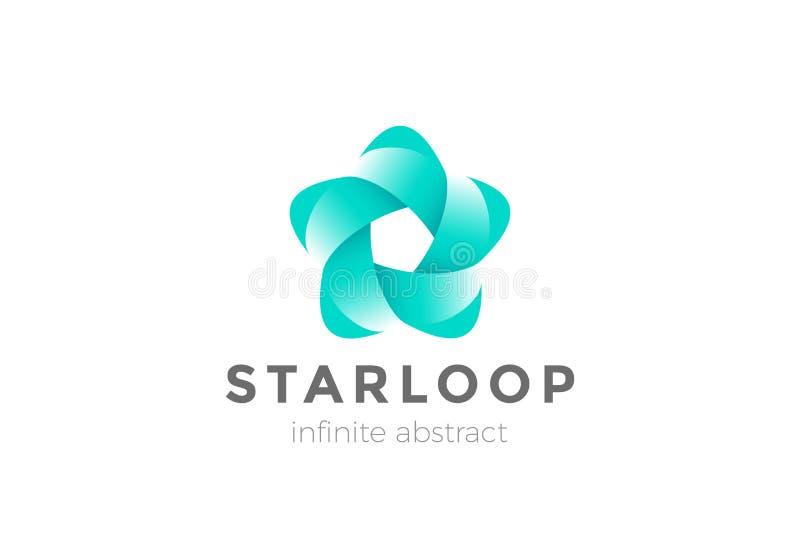 Estratto avvolto infinito d di logo del fiore della stella del nastro illustrazione di stock