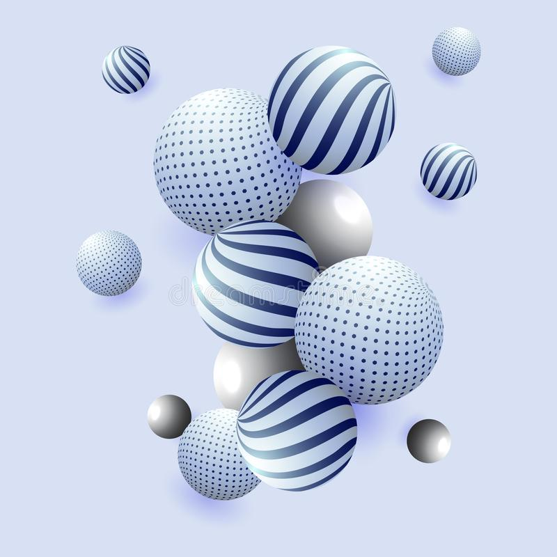 estratto brillante delle sfere 3D su fondo blu illustrazione di stock