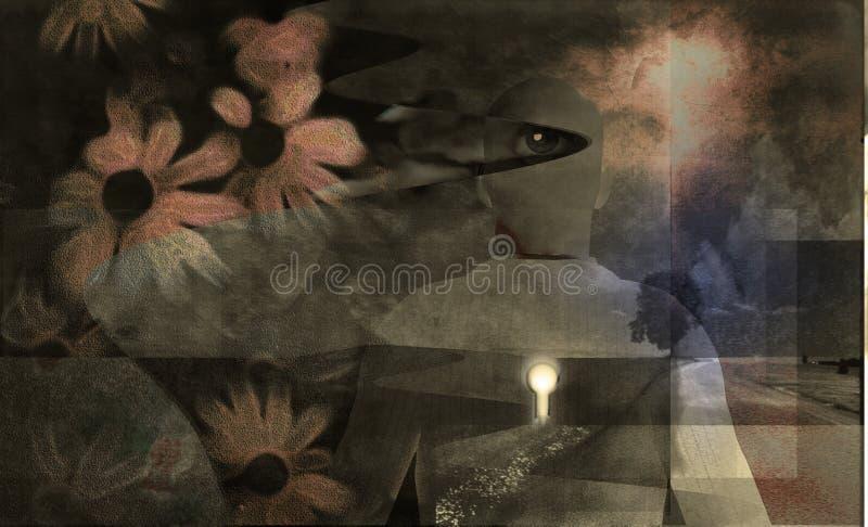 Estratto con i fiori illustrazione vettoriale