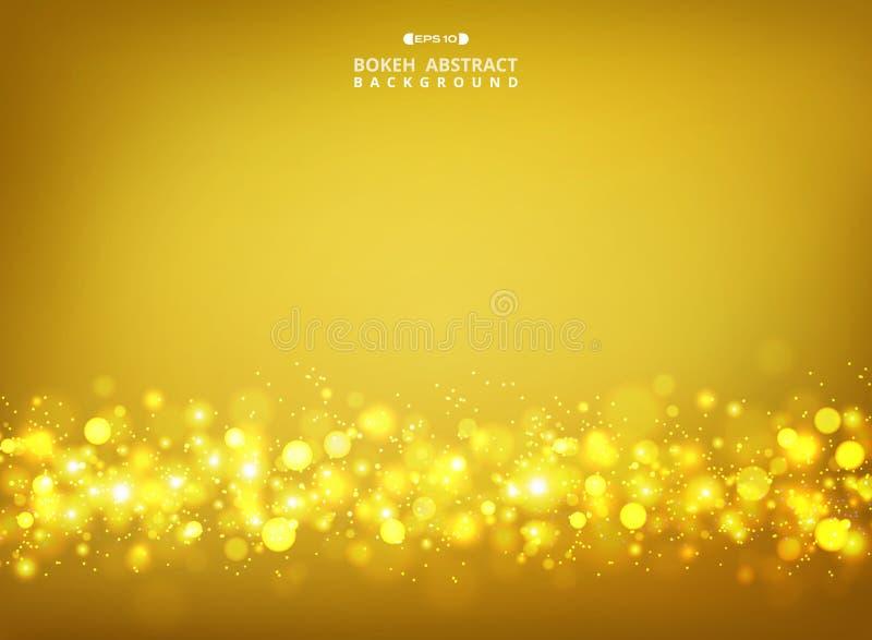 Estratto del bokeh dorato di scintilli sul fondo di pendenza dell'oro illustrazione vettoriale