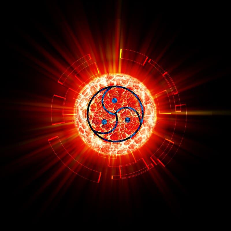 Estratto del segno di Bdsm sul pianeta rosso illustrazione vettoriale
