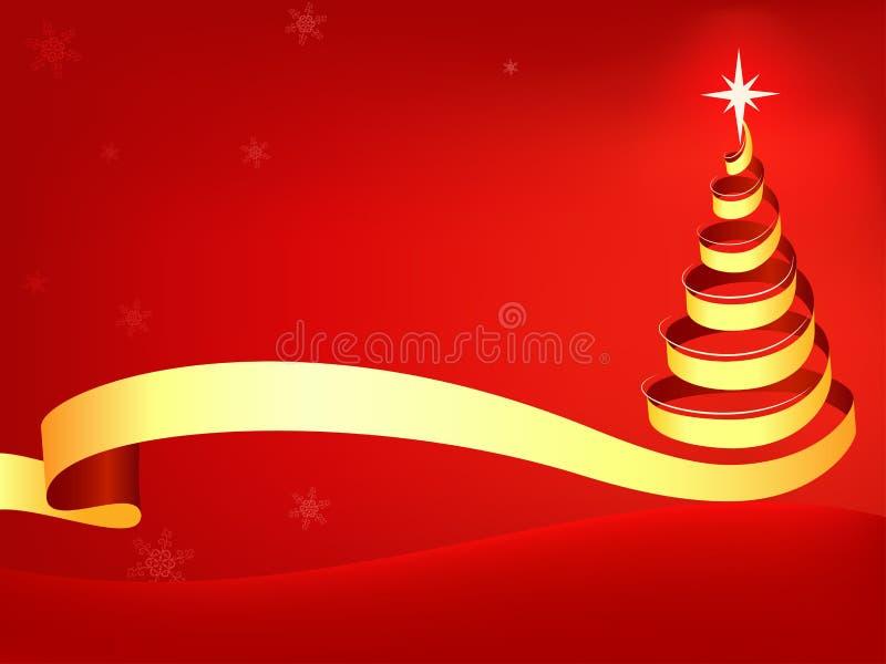 Estratto dell'albero di Natale con priorità bassa rossa illustrazione vettoriale