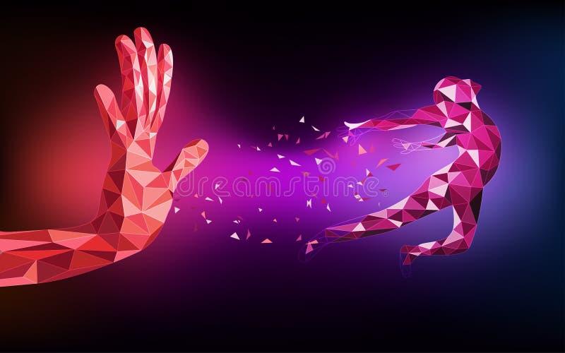 Estratto dell'asta della mano tecnologica del poligono royalty illustrazione gratis