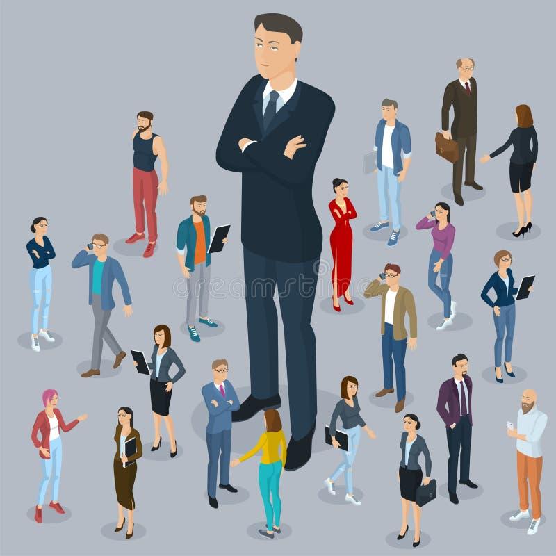 Estratto dell'ufficio del capo del grande capo con un fondo della gente isometrica royalty illustrazione gratis