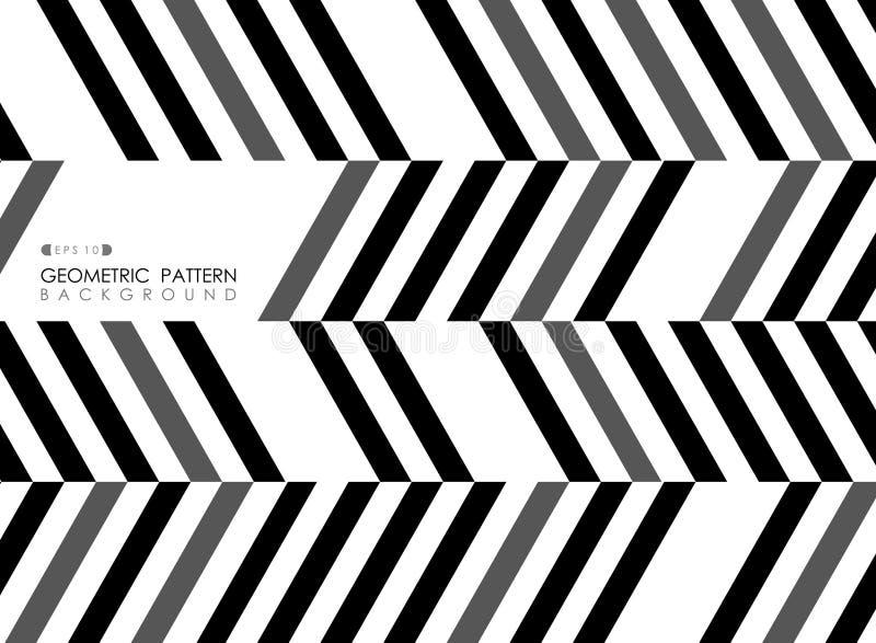 Estratto della linea backgrou bianco grigio della banda di arte op del modello del nero illustrazione di stock