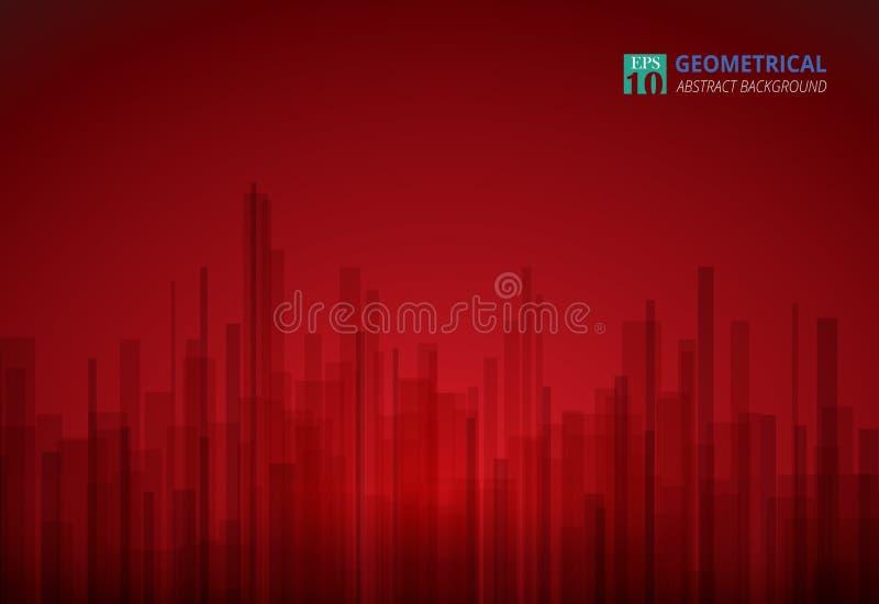 Estratto della pendenza rossa di lusso con il fondo geometrico nero dello spazio della copia, illustrazione vettoriale