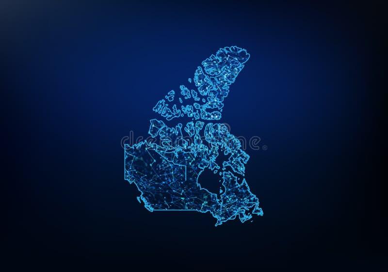 Estratto della rete della mappa del Canada, di Internet e del concetto globale del collegamento, linea poligonale della rete dell illustrazione vettoriale