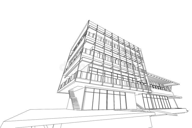 Estratto di architettura, 3d illustrazione, progettazione commerciale della costruzione della struttura edile royalty illustrazione gratis