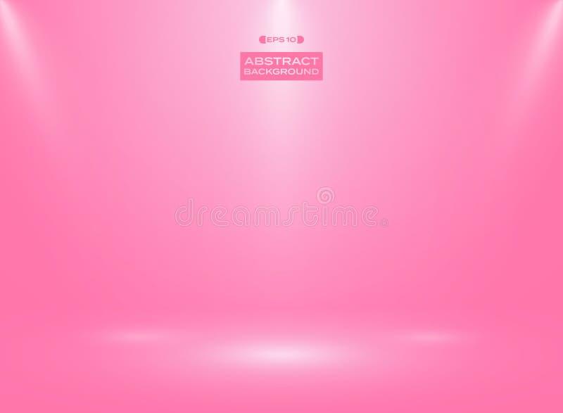 Estratto di colore di rosa di pendenza nel fondo della stanza dello studio con i riflettori illustrazione di stock