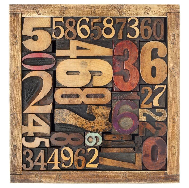 Estratto di numero nel tipo di legno immagini stock libere da diritti