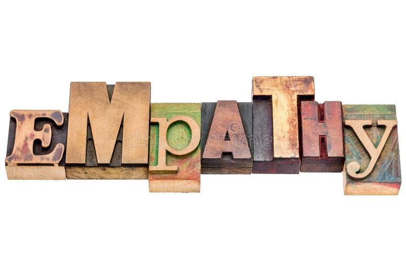Estratto di parola di empatia nel tipo di legno fotografia stock libera da diritti