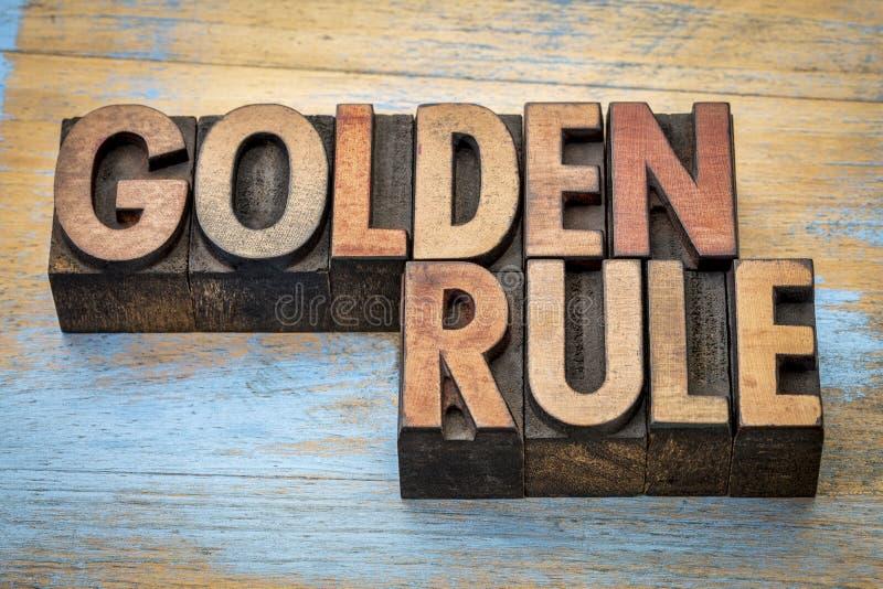 Estratto di parola di regola d'oro immagini stock