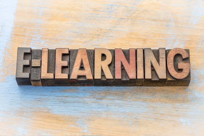 Estratto di parola di e-learning nel tipo di legno fotografia stock libera da diritti