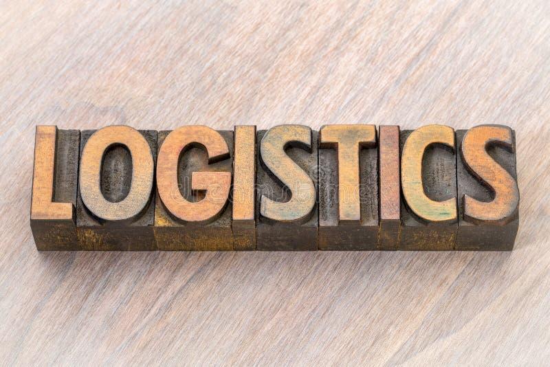 Estratto di parola di logistica nel tipo di legno fotografie stock libere da diritti