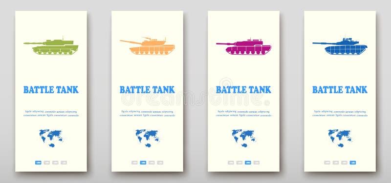 Estratto di presentazione della copertura dell'opuscolo dei carroarmati, progettazione stabilita dell'aletta di filatoio dell'opu illustrazione di stock