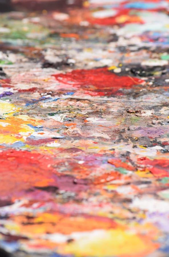 Estratto di un pallet dei pittori fotografie stock libere da diritti