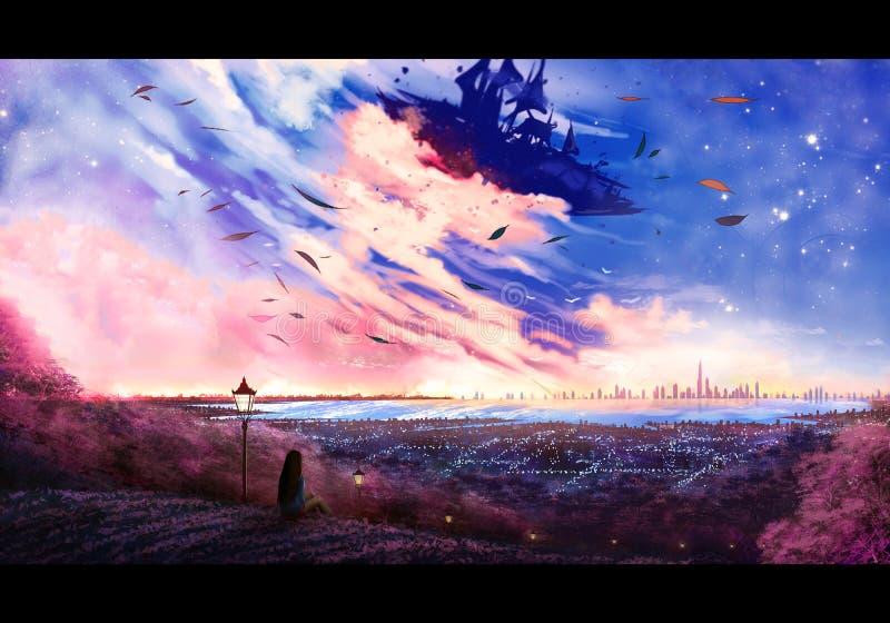 Estratto Digital artistica che dipinge illustrazione di una donna su un'alta collina che esamina un bello cielo illustrazione di stock