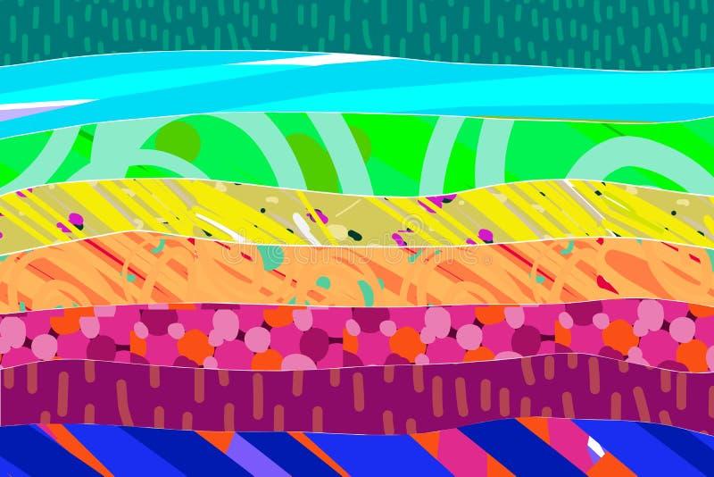 Estratto disegnato a mano strutturato del fondo dell'arcobaleno nei colori vibranti illustrazione vettoriale
