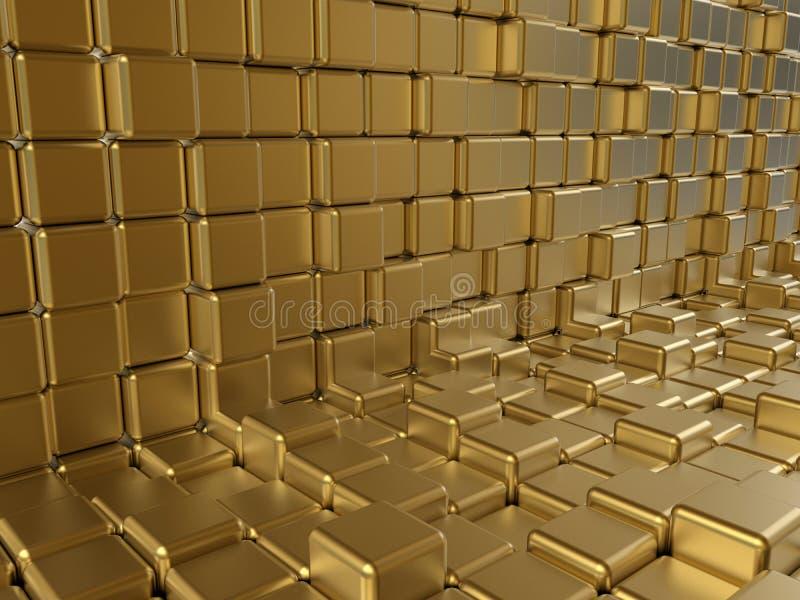 Estratto dorato dei cubi royalty illustrazione gratis