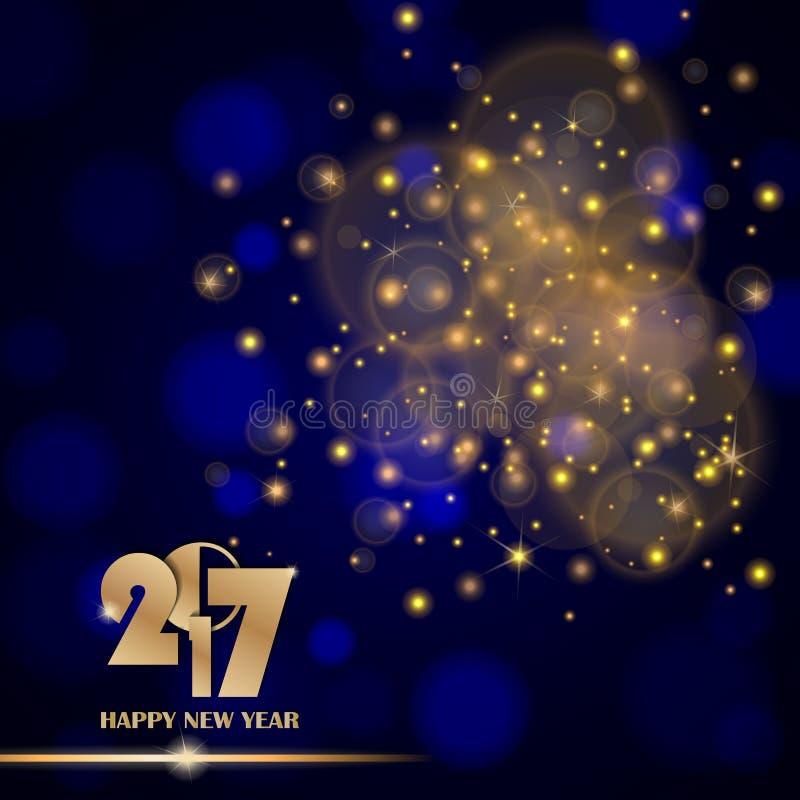 Estratto dorato delle luci su fondo vago ambientale blu Concetto 2017 del nuovo anno illustrazione vettoriale
