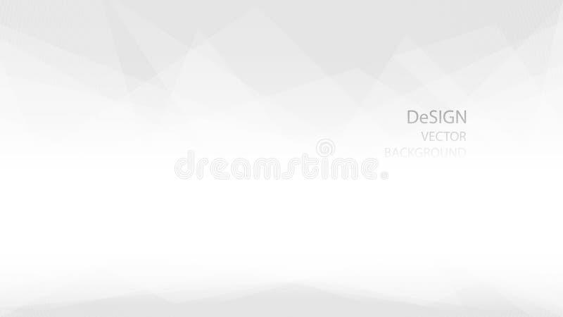 Estratto e forma poligonale bassa geometrica elegante di colore bianco e grigio con il fondo di vettore di progettazione Illustra illustrazione di stock