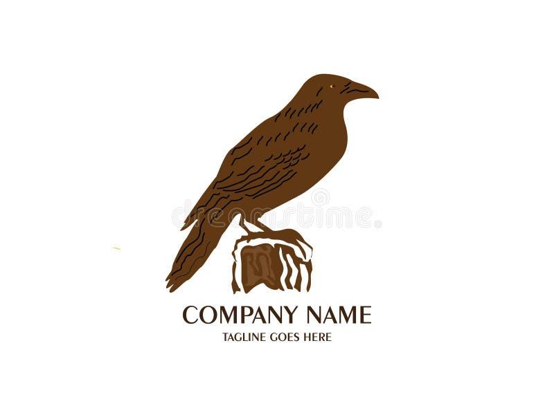 Estratto e modello unico di progettazione di vettore dell'aquila Un uccello esotico su backgroundbianco illustrazione vettoriale