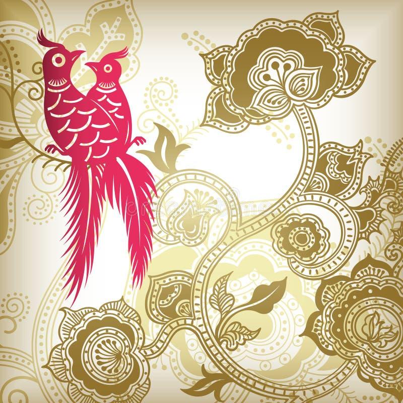 Estratto e pappagalli floreali illustrazione vettoriale