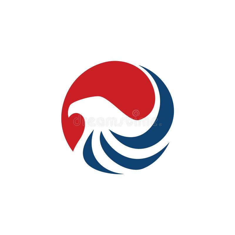 Estratto Eagle Falcon Stripes Logo Symbol del cerchio illustrazione di stock