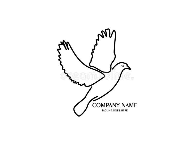 Estratto ed uccello unico con la linea nera modello di progettazione di vettore Un uccello esotico su backgroundbianco royalty illustrazione gratis