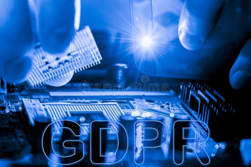 Estratto, fine su del fondo del computer elettronico di mainboard GDPR, regolamento generale di protezione dei dati fotografia stock