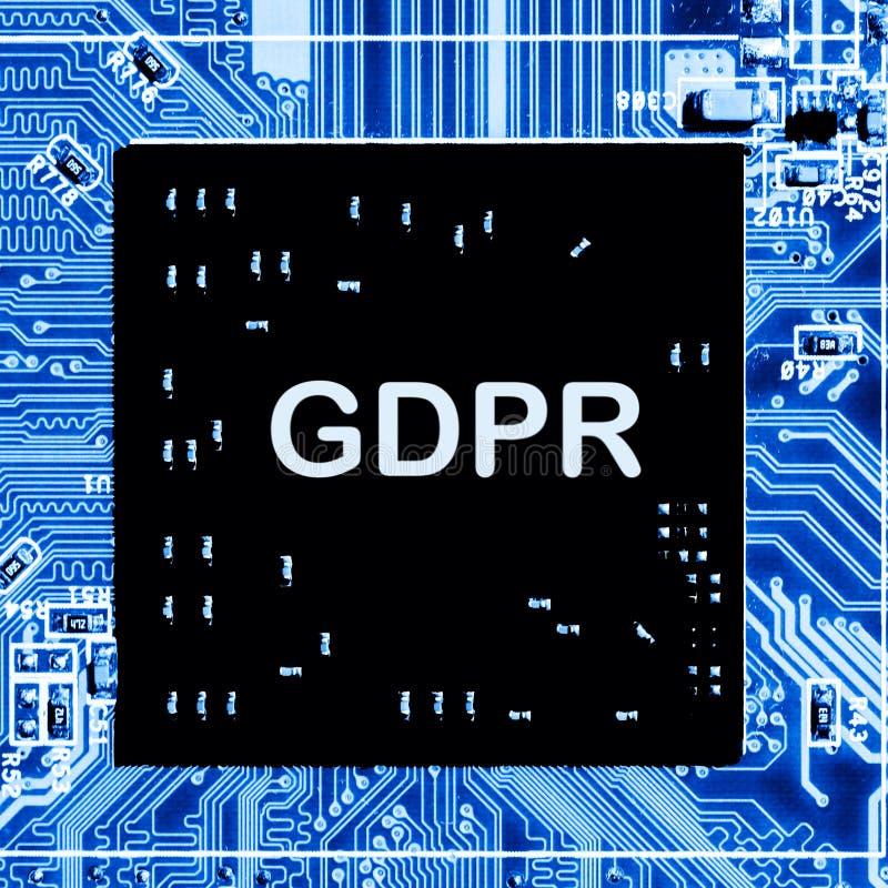 Estratto, fine su del fondo del computer elettronico di mainboard GDPR, regolamento generale di protezione dei dati fotografia stock libera da diritti
