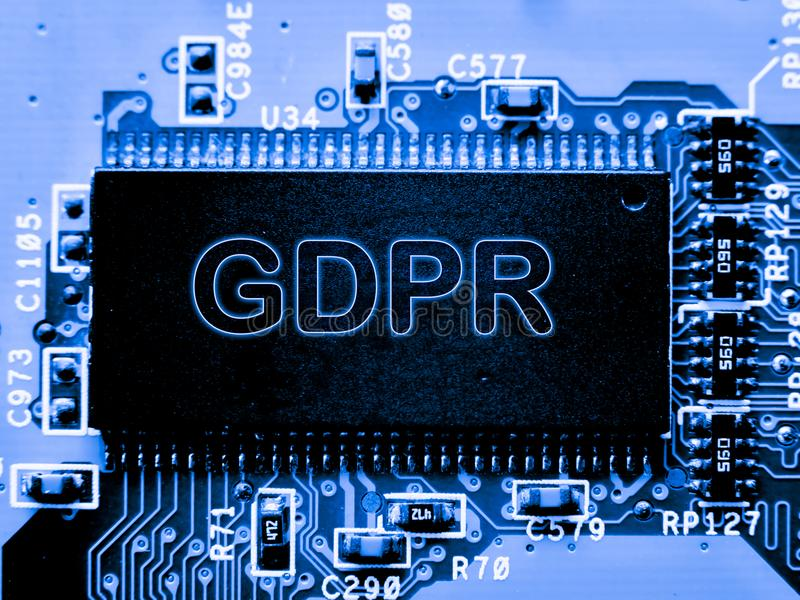 Estratto, fine su del fondo del computer elettronico di mainboard GDPR, regolamento generale di protezione dei dati immagine stock libera da diritti