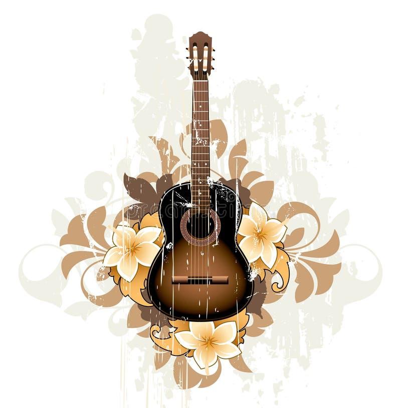 Estratto floreale con la chitarra illustrazione vettoriale