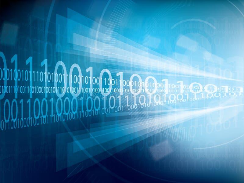 Estratto futuristico blu del fondo di tecnologia con le luci intense ed il codice binario illustrazione vettoriale