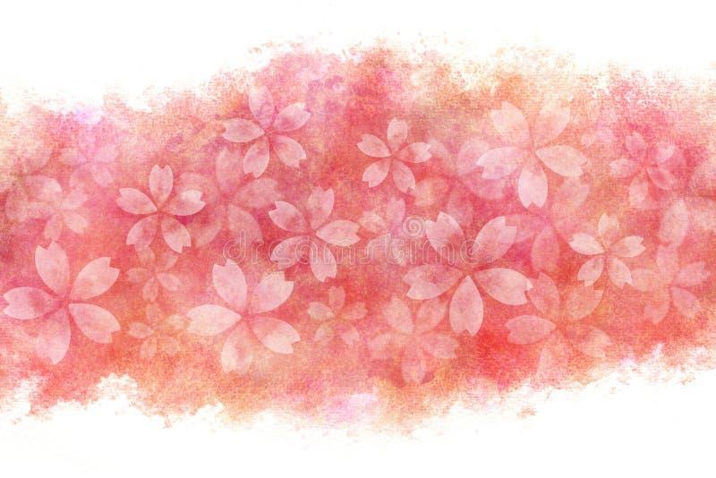 Estratto giapponese del fiore di ciliegia sul fondo rosa della pittura dell'acquerello illustrazione vettoriale