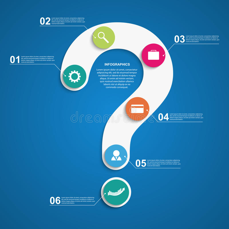 Estratto infographic sotto forma di punto interrogativo Elementi di disegno illustrazione di stock