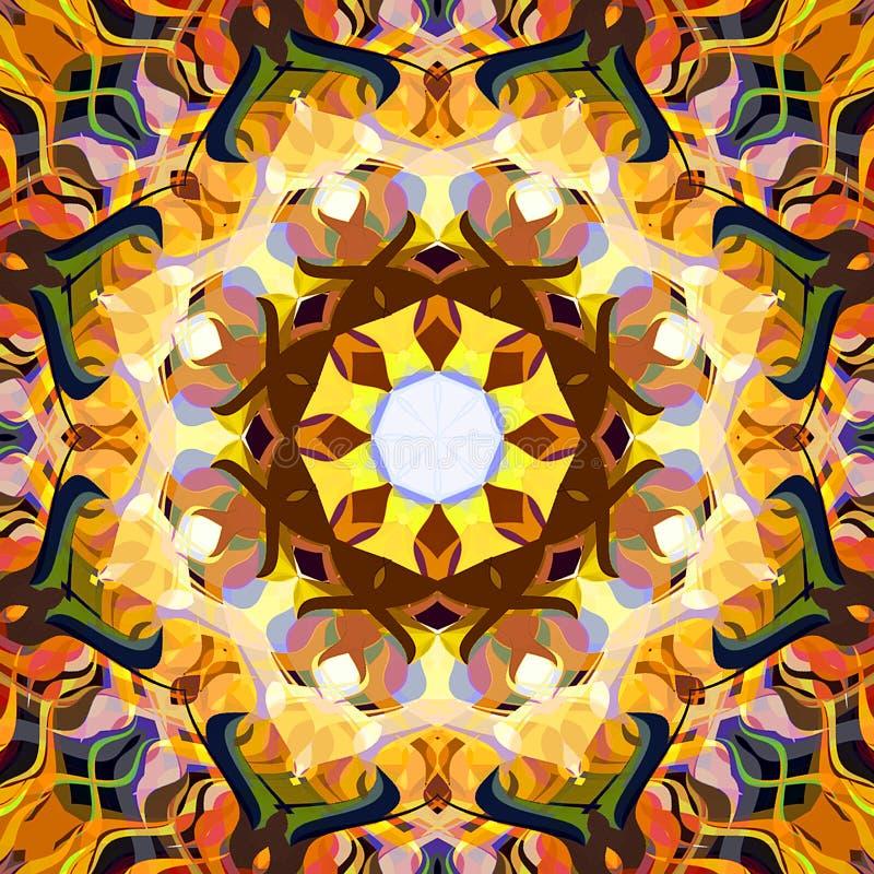 Estratto Mandala Background floreale variopinta della pittura di Digital fotografia stock