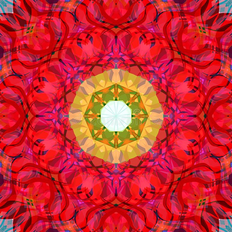 Estratto Mandala Background floreale variopinta della pittura di Digital illustrazione vettoriale