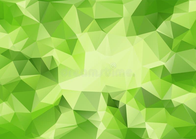 Estratto poligonale con la luce di messa a fuoco nei precedenti medi e verdi di pendenza illustrazione di stock