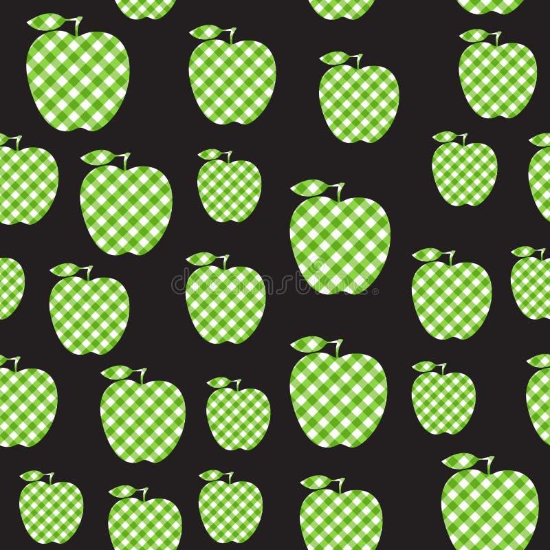 Estratto a quadretti verde mela di vettore Modello senza cuciture isolato su fondo nero royalty illustrazione gratis