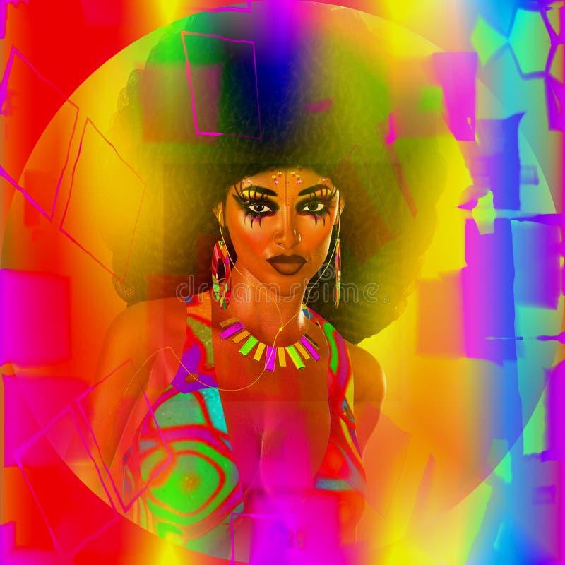 Estratto, retro immagine digitale di arte del ballerino della discoteca di afro illustrazione vettoriale