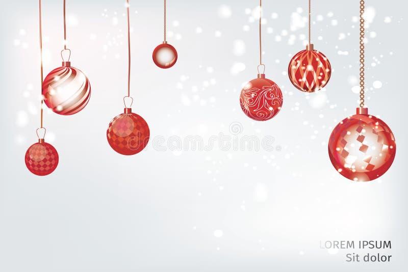 Estratto rosso del fondo di natale di vettore Ornamen della neve della palla di Natale illustrazione di stock